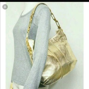 Tory Burch Nico Hobo Distressed Metallic Gold Bag